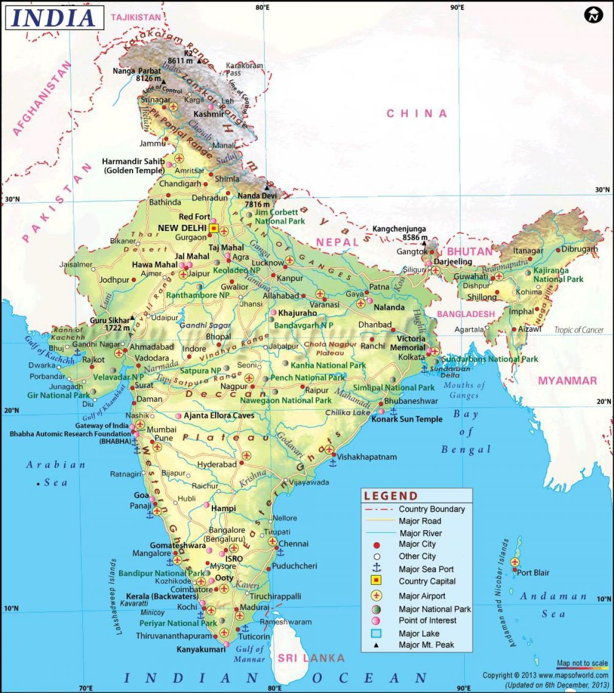 Cartina India Fisica.Fizinis Zemėlapis Indija Su Valstybių Indijos Fizinį